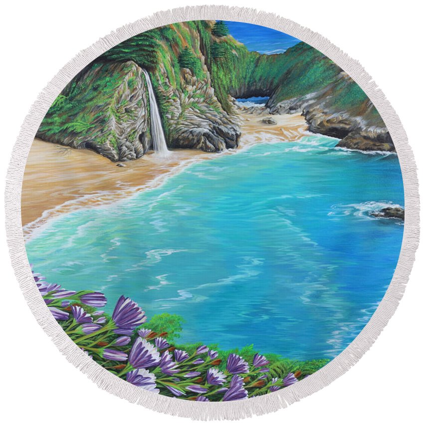 Beach Round Beach Towel featuring the painting Mcway Falls by Jane Girardot