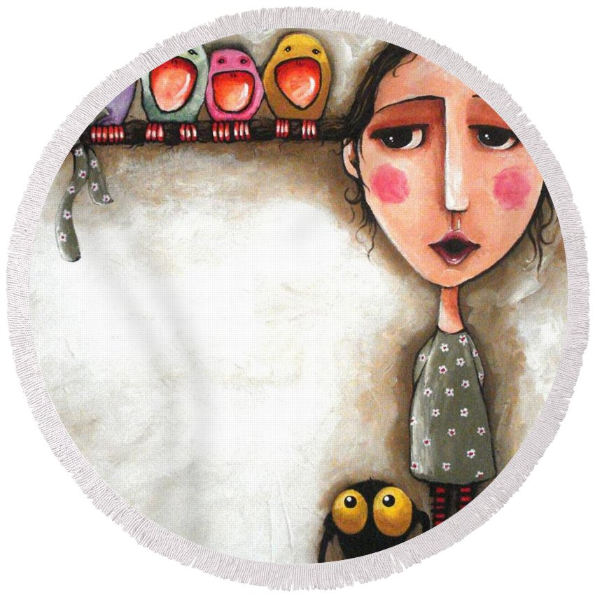 Lucia Stewart Round Beach Towel featuring the painting Me And My Birds by Lucia Stewart