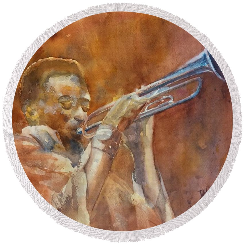 Trumpet Round Beach Towel featuring the painting Me And My Trumpet by Debbie Lewis