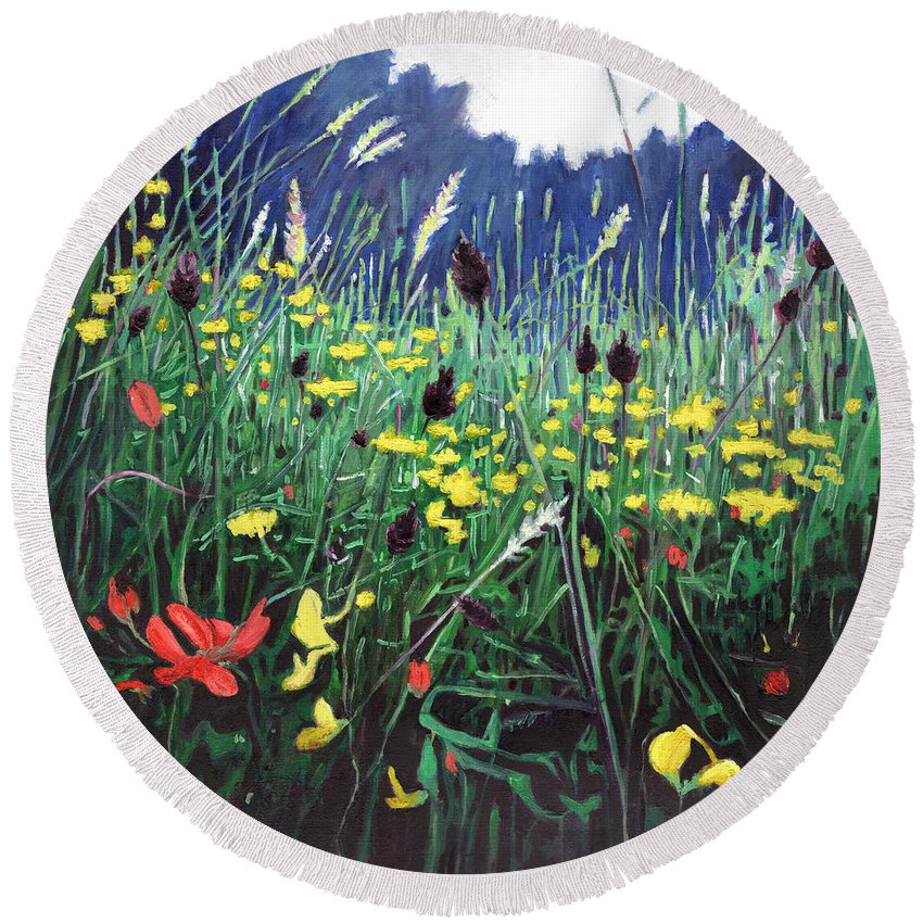 Meadow Round Beach Towel featuring the painting Meadow Glory by Helen White