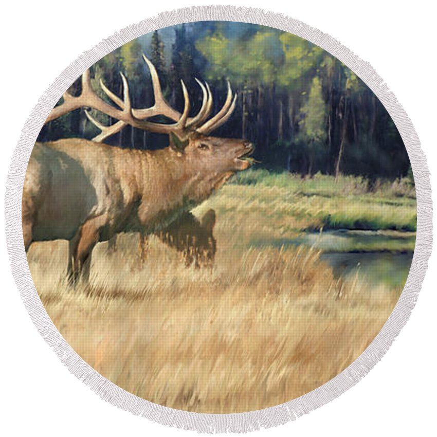Elk Round Beach Towel featuring the painting Meadow Music by Rob Corsetti