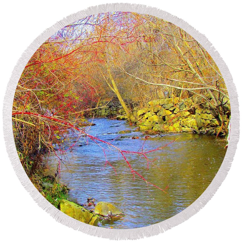 Royal River Round Beach Towel featuring the photograph Meandering Stream by Elizabeth Dow