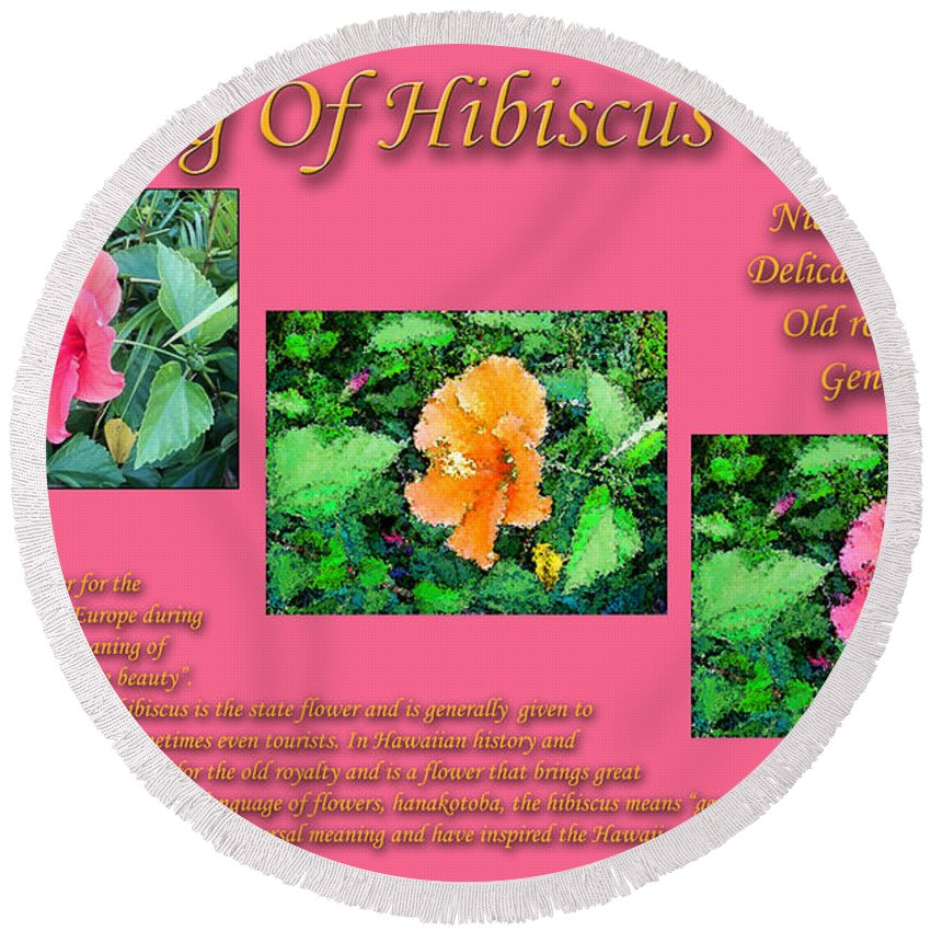 Meaning Of Hibiscus Flowers Round Beach Towel For Sale By William