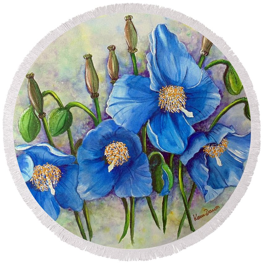Blue Hymalayan Poppy Round Beach Towel featuring the painting Meconopsis  Himalayan Blue Poppy by Karin Dawn Kelshall- Best