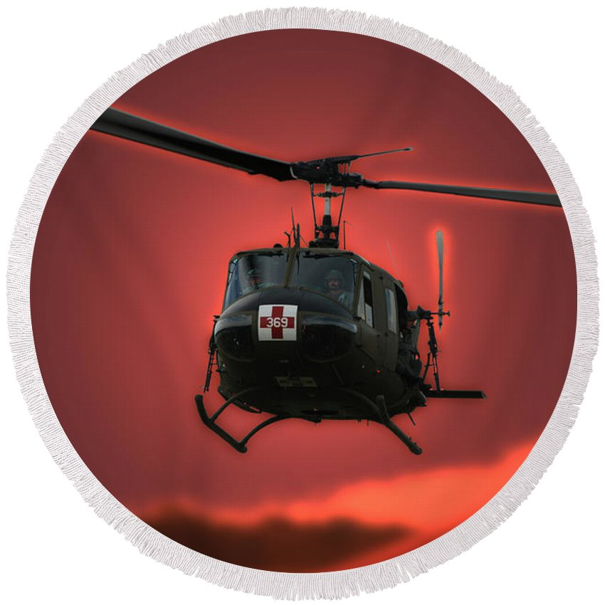 Dust Off Round Beach Towel featuring the photograph Medevac The Sound Of Hope by Thomas Woolworth