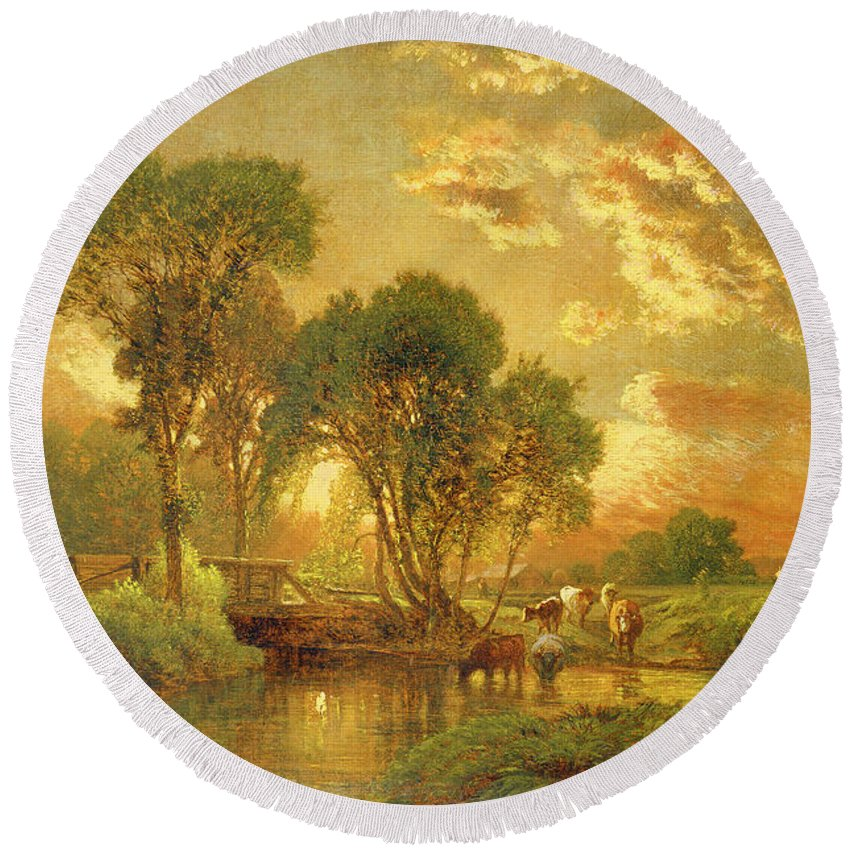 Inness Round Beach Towel featuring the painting Medfield Massachusetts by Inness