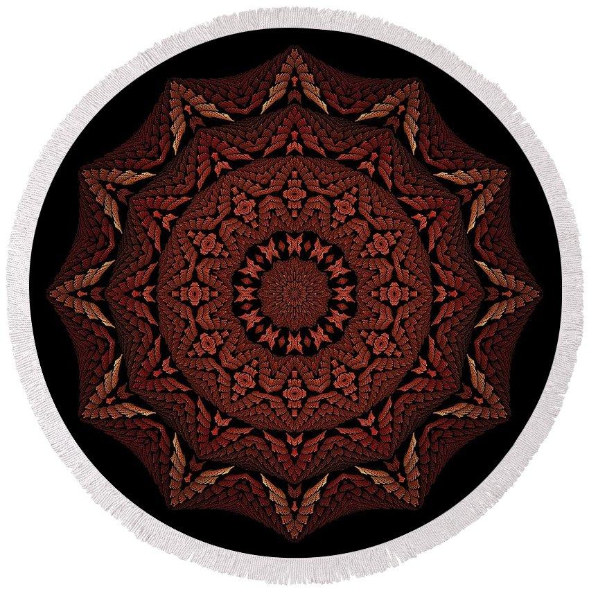 Medicine Wheel Round Beach Towel featuring the digital art Medicine Wheel Dragonspur Fractal K12-4 by Doug Morgan