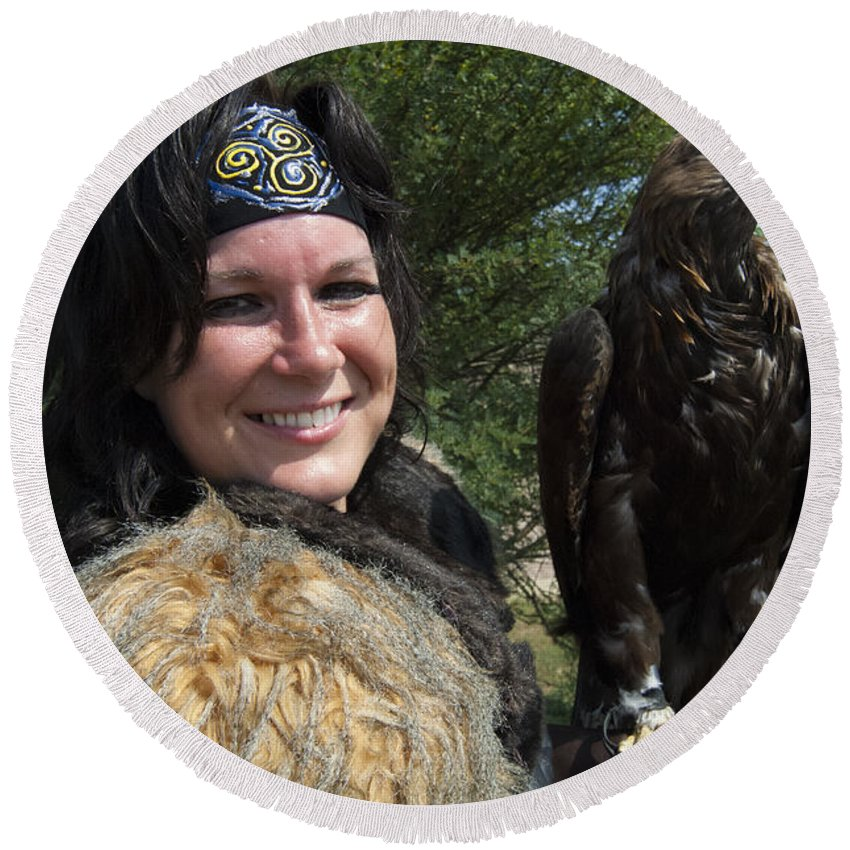 Golden Eagle Round Beach Towel featuring the photograph Medieval Barbarian Eriana Iceni And Spirit by Bob Christopher