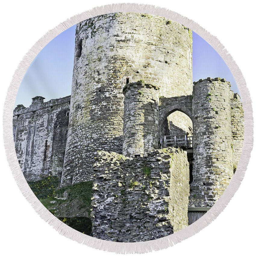 Travel Round Beach Towel featuring the photograph Medieval Conwy by Elvis Vaughn