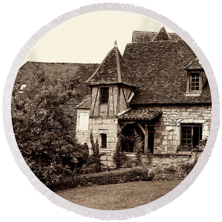 Medieval Cottage Round Beach Towel featuring the photograph Medieval Cottage In Sarlat Sepia by Weston Westmoreland