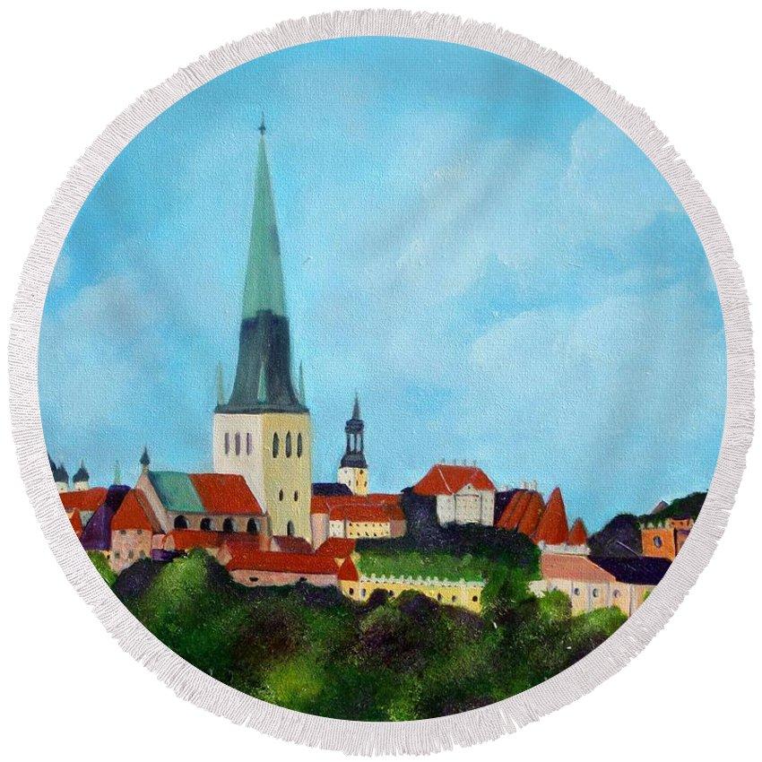 Tallinn Round Beach Towel featuring the painting Medieval Tallinn by Laurie Morgan