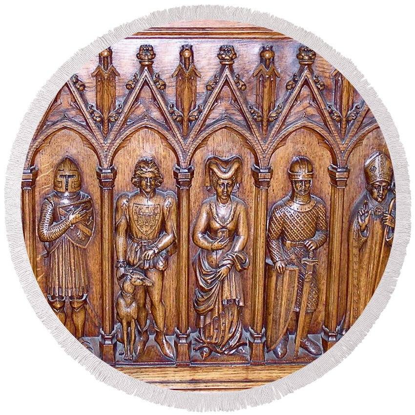 Medieval wood carving round beach towel for sale by france art