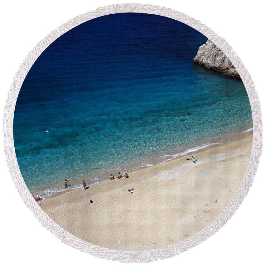 Mediterranean Sea Round Beach Towel featuring the photograph Mediterranean Coastal Scene by Sally Weigand