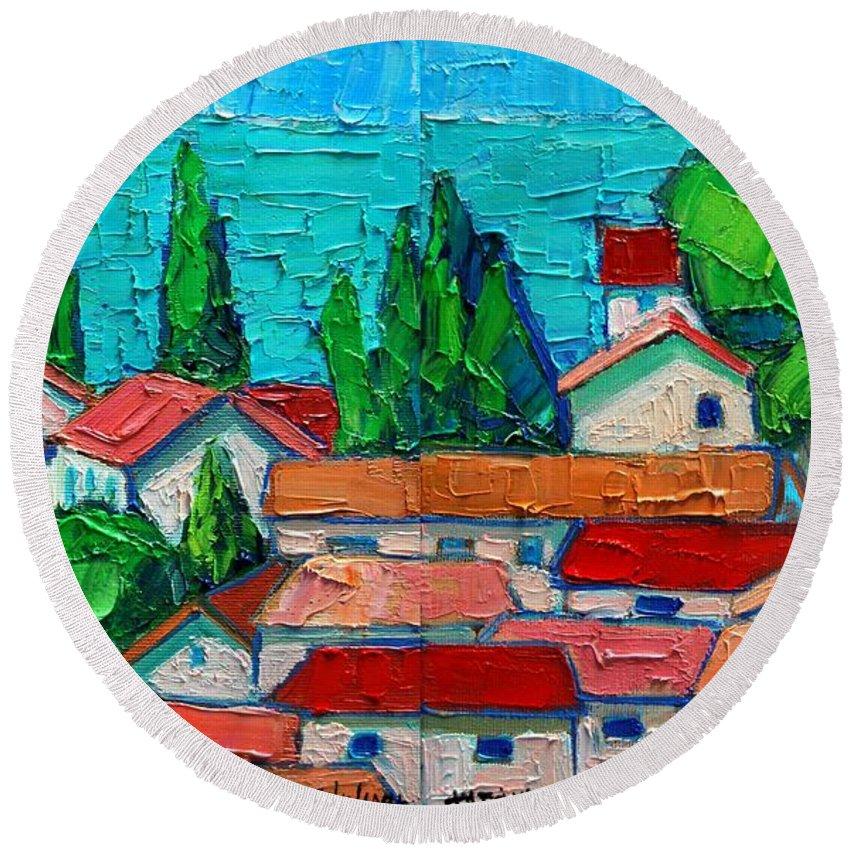 Sveti Round Beach Towel featuring the painting Mediterranean Roofs 1 2 by Ana Maria Edulescu