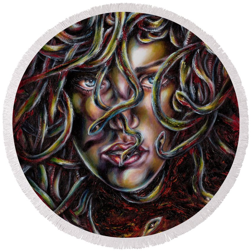 Medusa Round Beach Towel featuring the painting Medusa No. Three by Hiroko Sakai