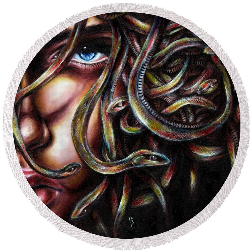 Medusa Round Beach Towel featuring the painting Medusa No. Two by Hiroko Sakai