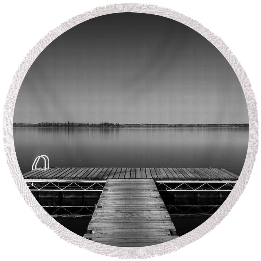 B&w Round Beach Towel featuring the photograph Meet Me At Twilight by Sandra Parlow