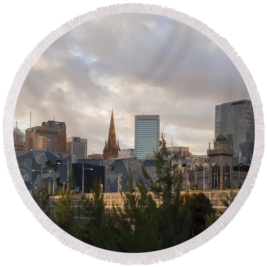 Melbourne Australia Federation Square Building Buildings Structure Structures City Cities Cityscape Cityscapes Architecture Landscape Landscapes Round Beach Towel featuring the photograph Melbourne Cityscape by Bob Phillips