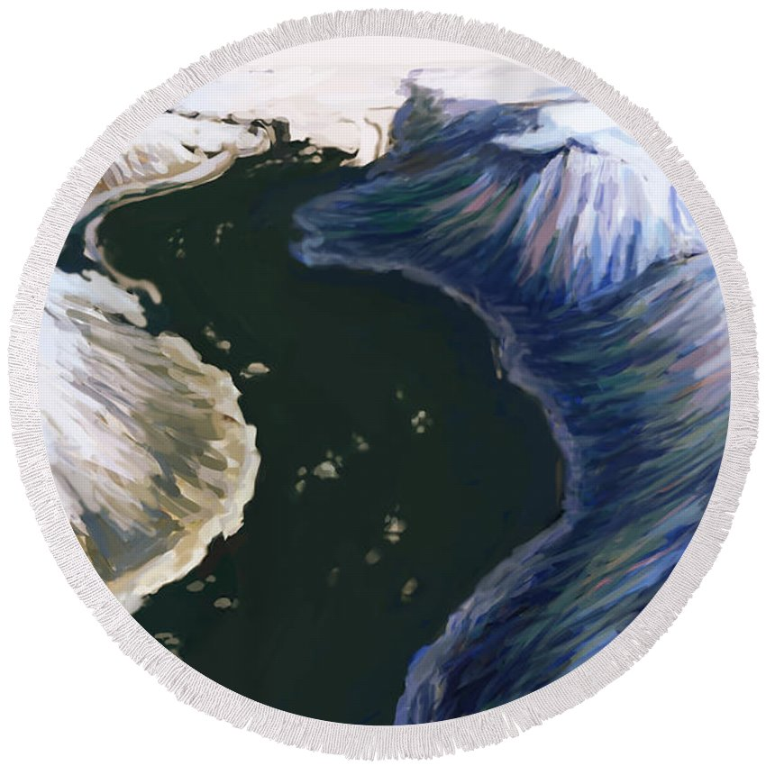 Glacier Round Beach Towel featuring the photograph Melting Glacier 3 Of 3 by Spencer Sutton