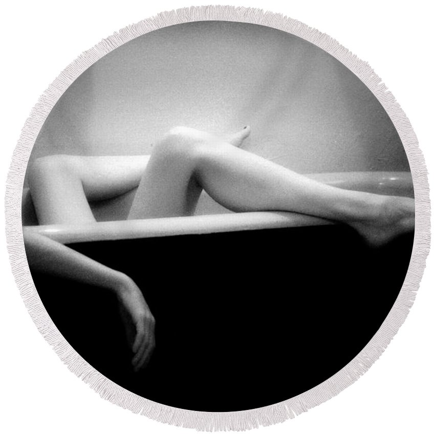 Female Nude Round Beach Towel featuring the photograph Melting by Lindsay Garrett