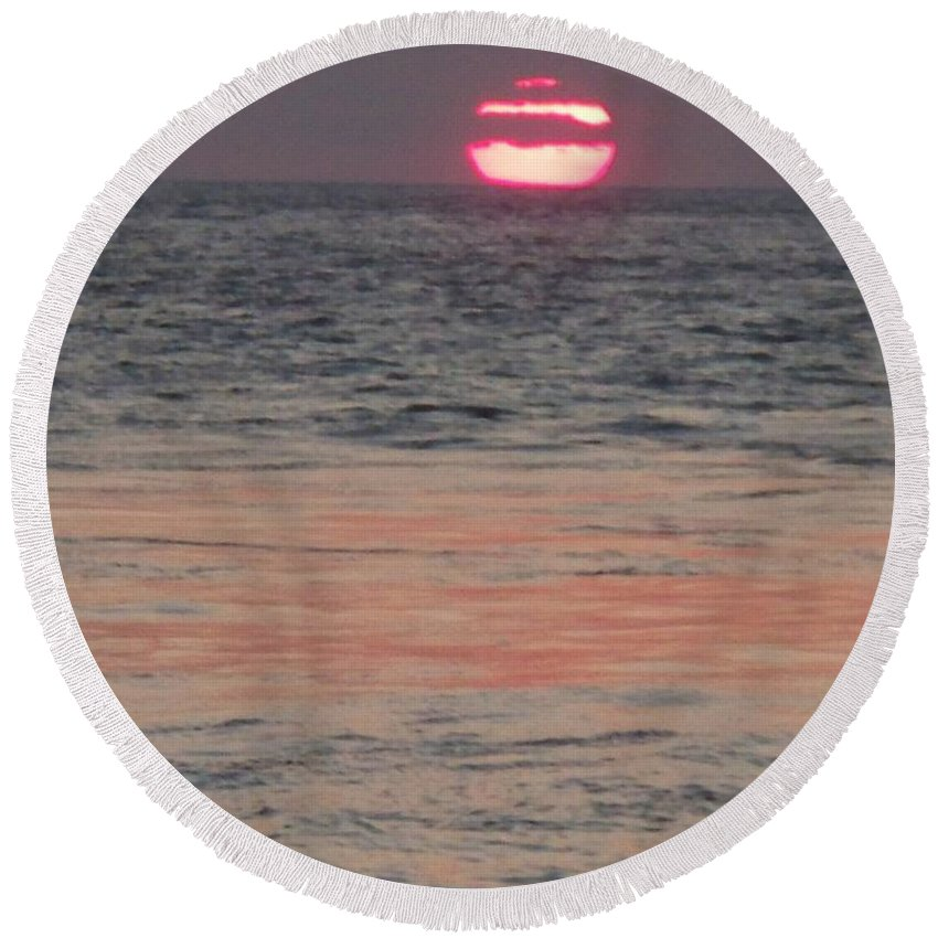 Photography Round Beach Towel featuring the photograph Melting Sun Into The Cool Sea by Eric Schiabor