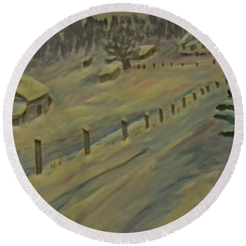 Landscape Round Beach Towel featuring the painting Memories by David Rodden