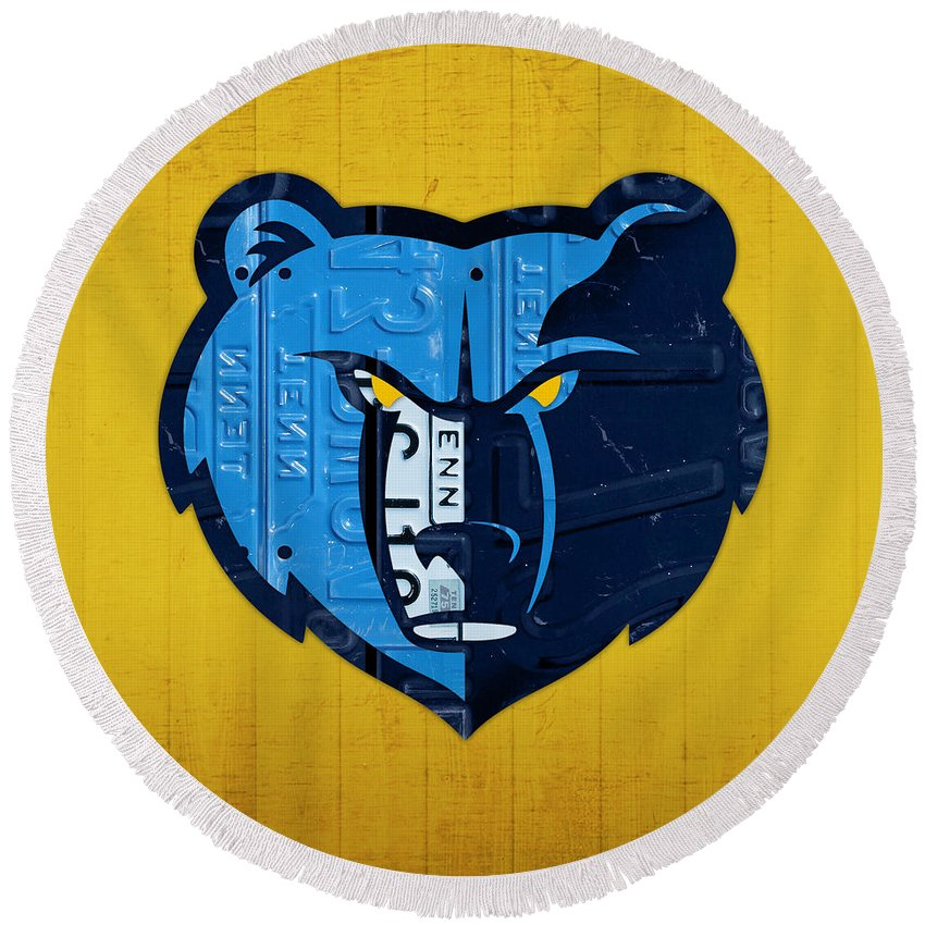 Memphis Grizzlies Basketball Team Retro Logo Vintage Recycled Tennessee  License Plate Art Round Beach Towel