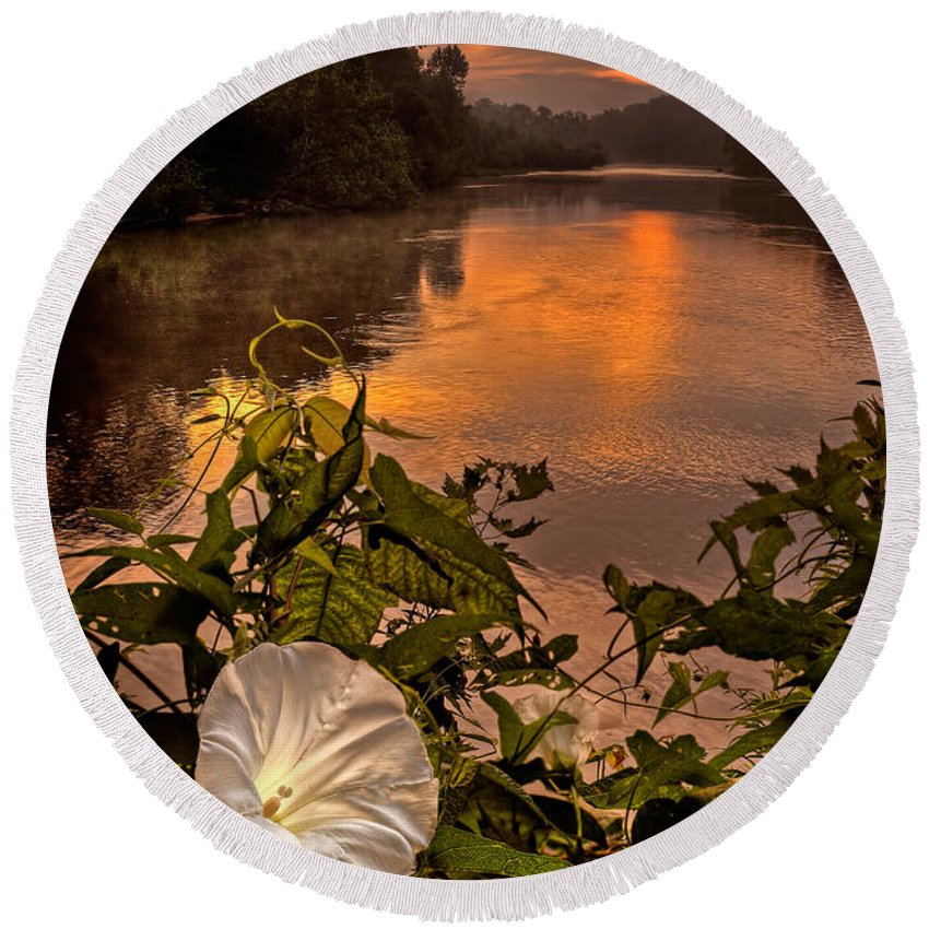 2011 Round Beach Towel featuring the photograph Meramec River At Chouteau Claim by Robert Charity