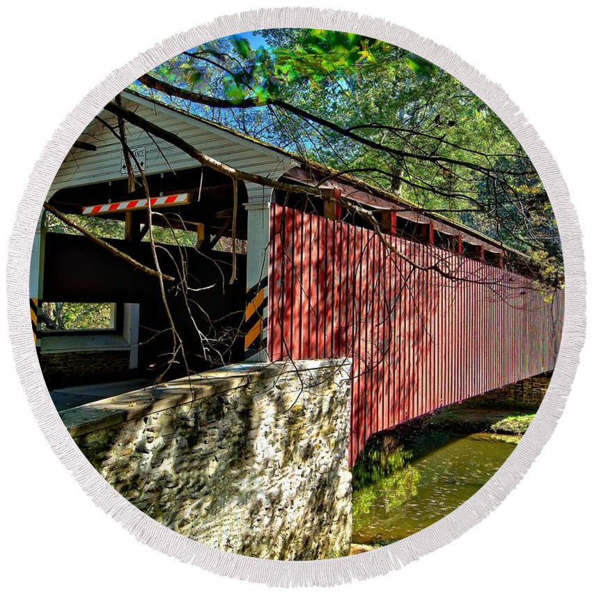 American Round Beach Towel featuring the photograph Mercers Mill Covered Bridge by Nick Zelinsky