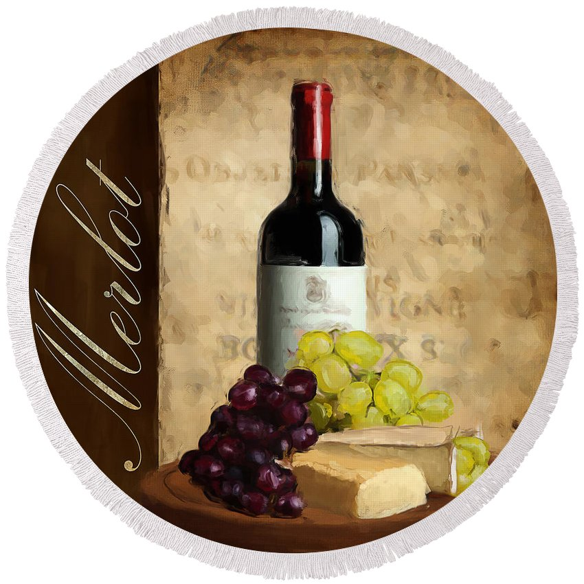Wine Round Beach Towel featuring the painting Merlot IIi by Lourry Legarde