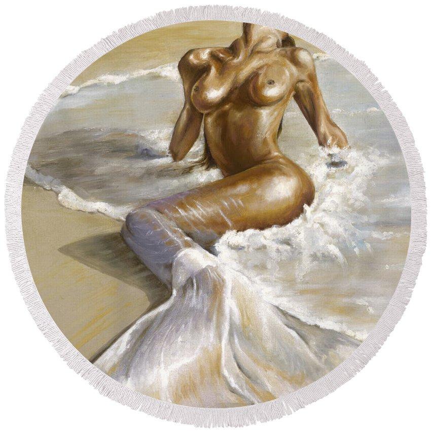 Mermaid Round Beach Towel featuring the painting Mermaid by Karina Llergo
