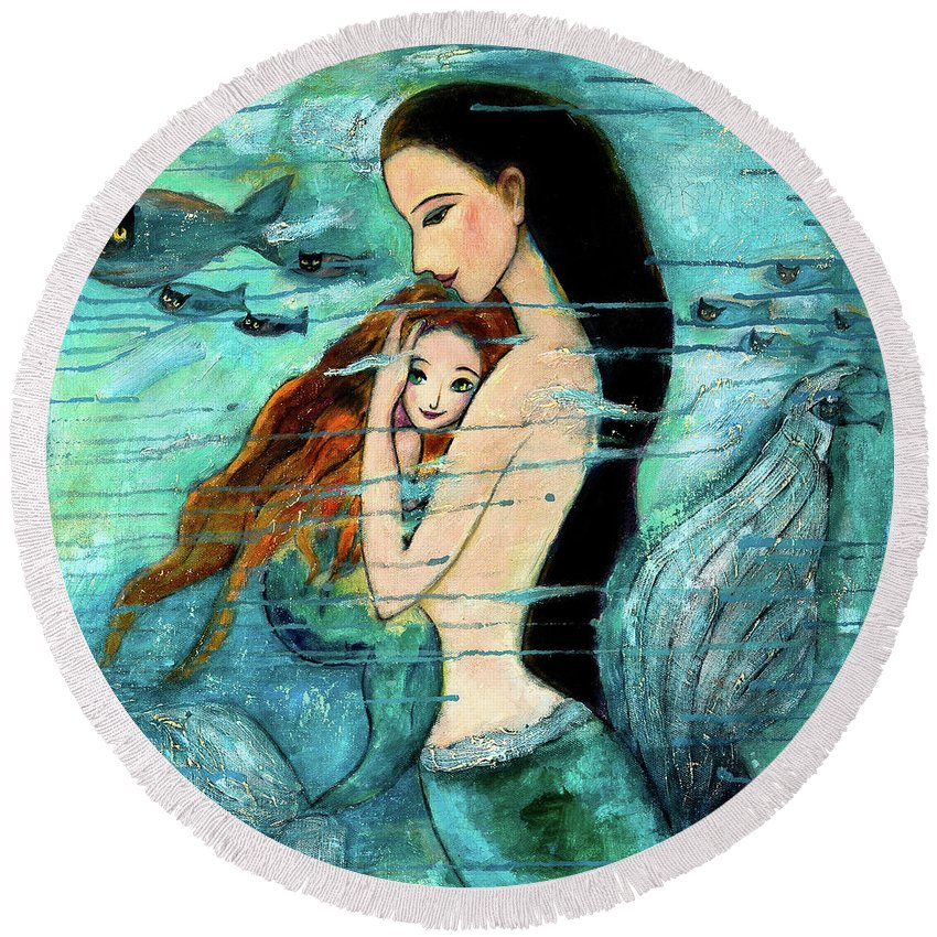 Mermaid Art Round Beach Towel featuring the painting Mermaid Mother And Child by Shijun Munns