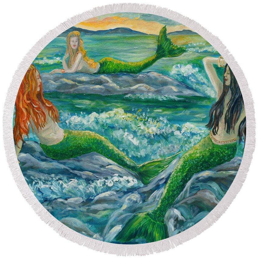 Mermaid Round Beach Towel featuring the painting Mermaids On The Rocks by Julie Brugh Riffey