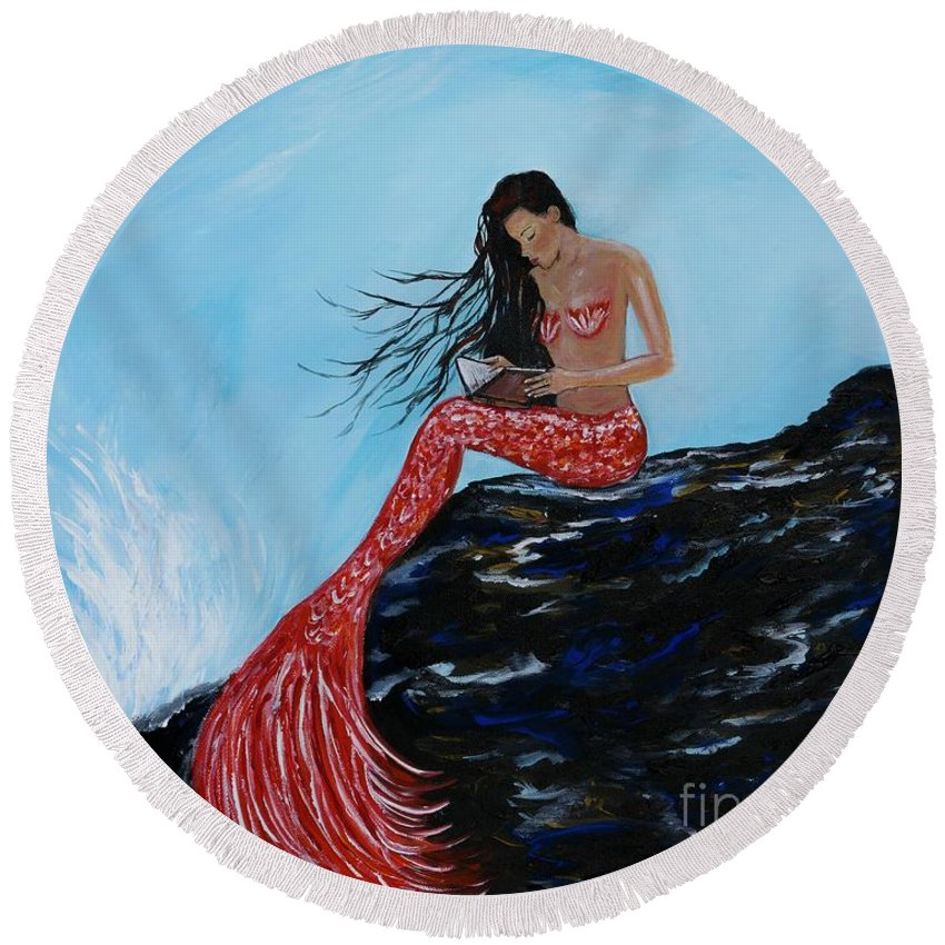 Mermaid Paintings Round Beach Towel featuring the painting Mermaids Timeless Tales by Leslie Allen