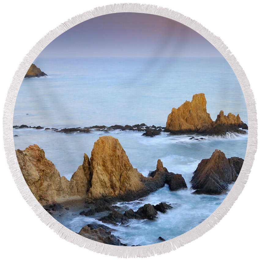 Seascape Round Beach Towel featuring the photograph Mermail Reef by Guido Montanes Castillo