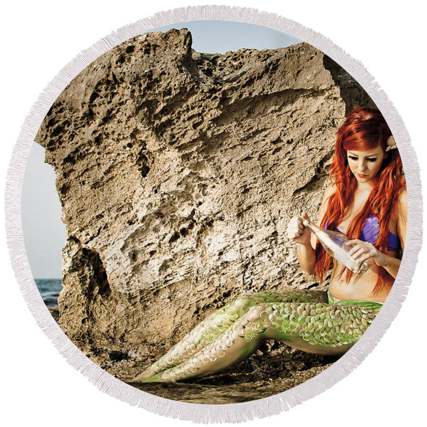 Creativity Round Beach Towel featuring the photograph Mermais Sighting 1 by Guy Viner