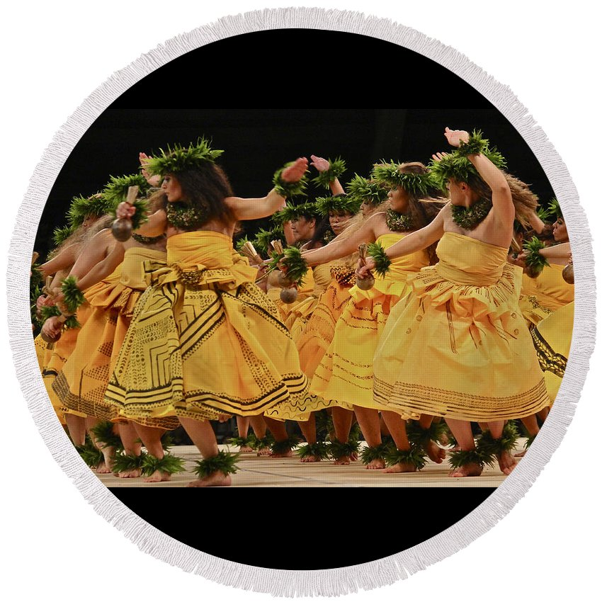 Merrie Monarch Round Beach Towel featuring the photograph Merrie Monarch Hula Dancers In Yellow Dresses by Venetia Featherstone-Witty