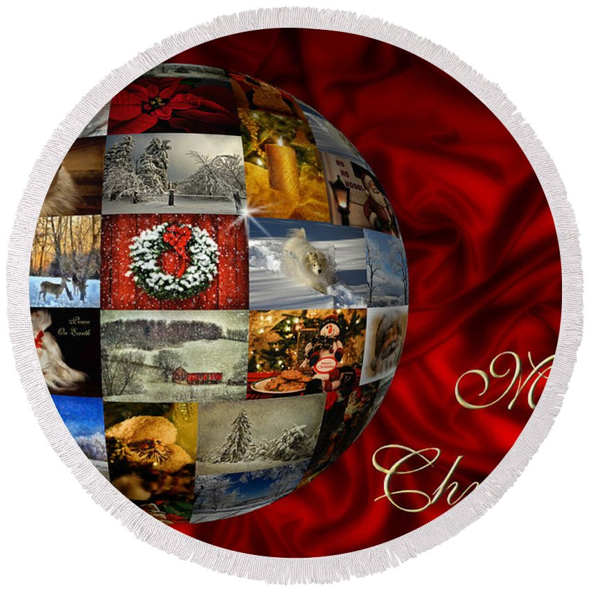 Christmas Round Beach Towel featuring the photograph Merry Christmas Globe by Lois Bryan