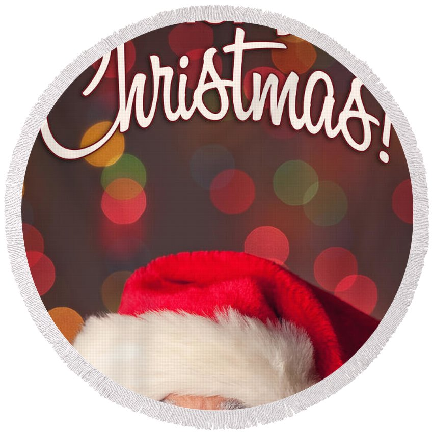 Santa Round Beach Towel featuring the photograph Merry Christmas Santa Card by Sharon Dominick