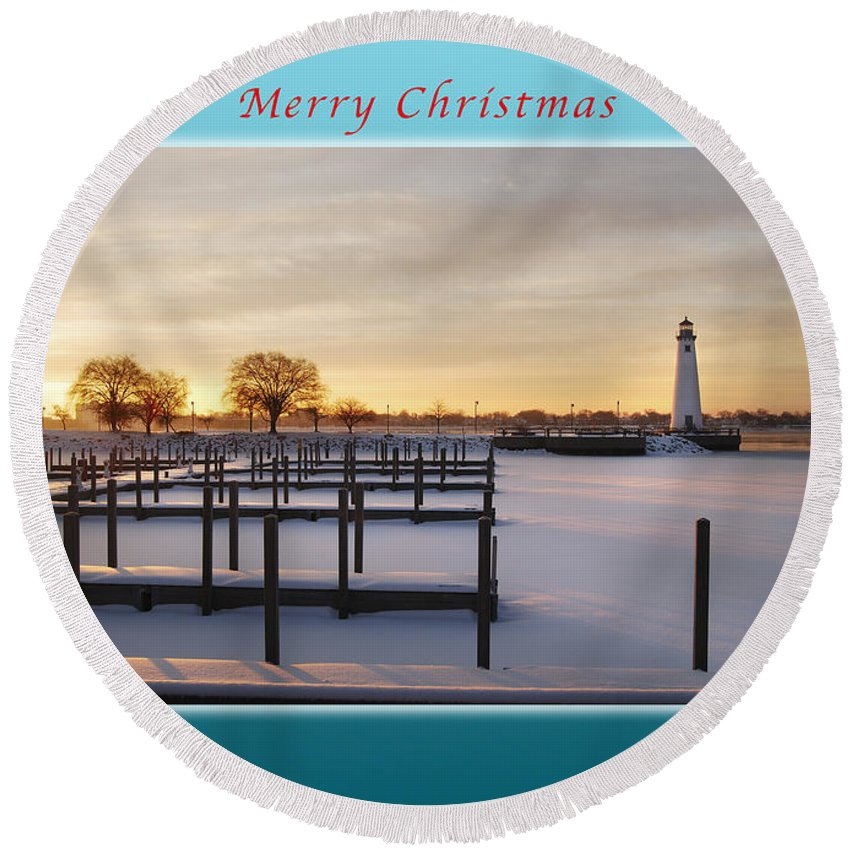 Marina Round Beach Towel featuring the photograph Merry Christmas Winter Marina And Lighthouse by Michael Peychich