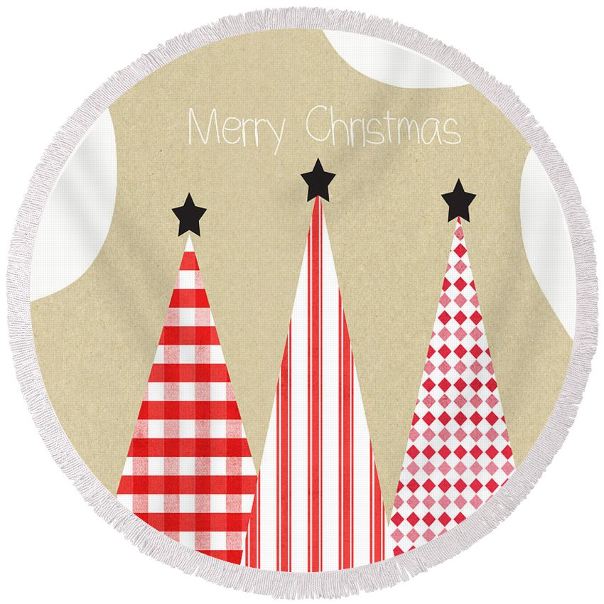 Christmas Round Beach Towel featuring the mixed media Merry Christmas With Red And White Trees by Linda Woods