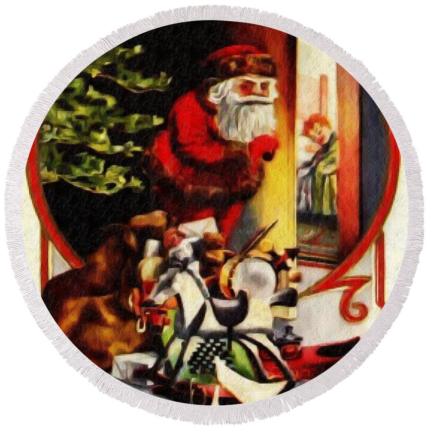 Merry Xmas Round Beach Towel featuring the digital art Merry Xmas by Bill Cannon