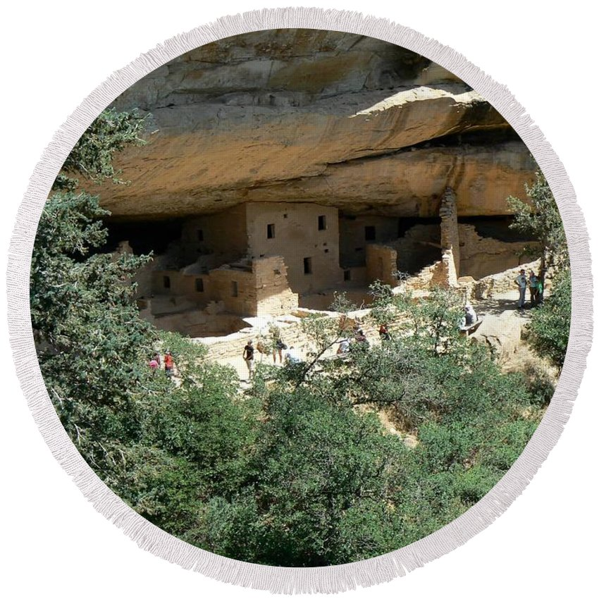 Mesa Verde Round Beach Towel featuring the photograph Mesa Verde Cliff Dwellings by Rincon Road Photography By Ben Petersen
