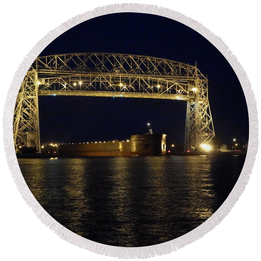 Aerial Lift Bridge Round Beach Towel featuring the photograph Mesabi Miner by Alison Gimpel