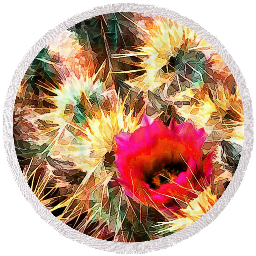 Cactus Round Beach Towel featuring the painting Mesh Of Cactus Needles by Elaine Plesser