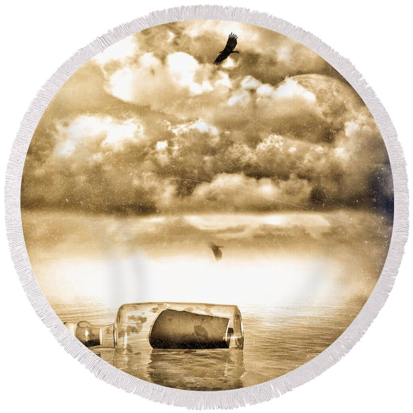 Seascape Round Beach Towel featuring the photograph Message In A Bottle by Bob Orsillo