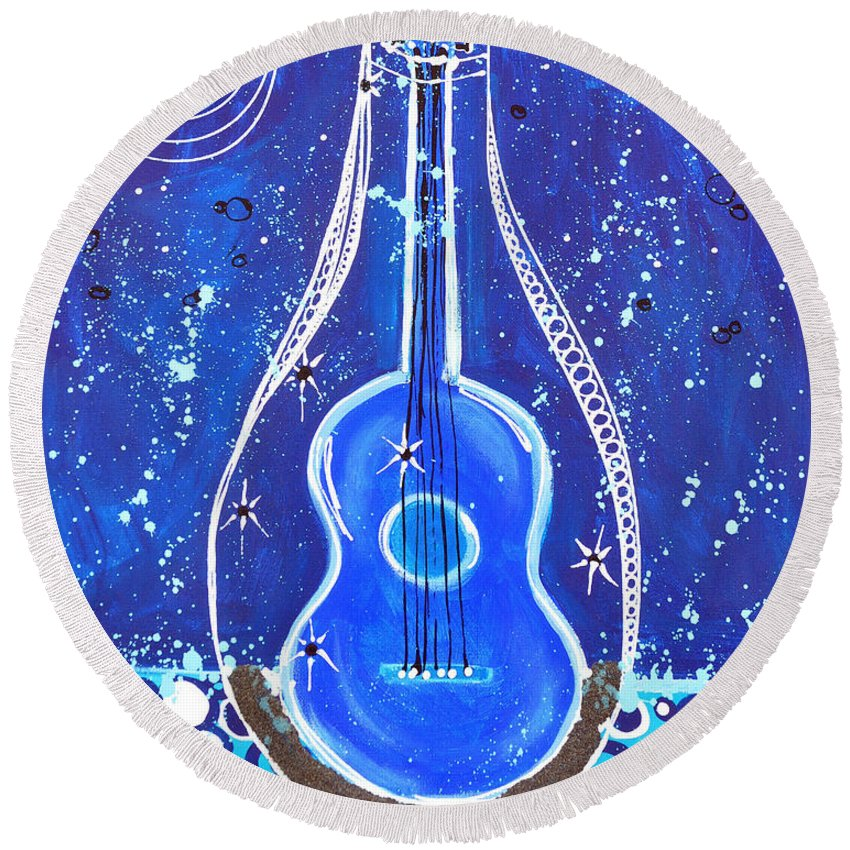 Guitar Round Beach Towel featuring the painting Message In A Bottle by Kristin Griffis