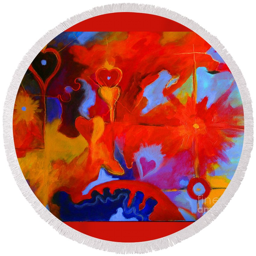 Abstract Round Beach Towel featuring the painting Message Of Love by Alison Caltrider