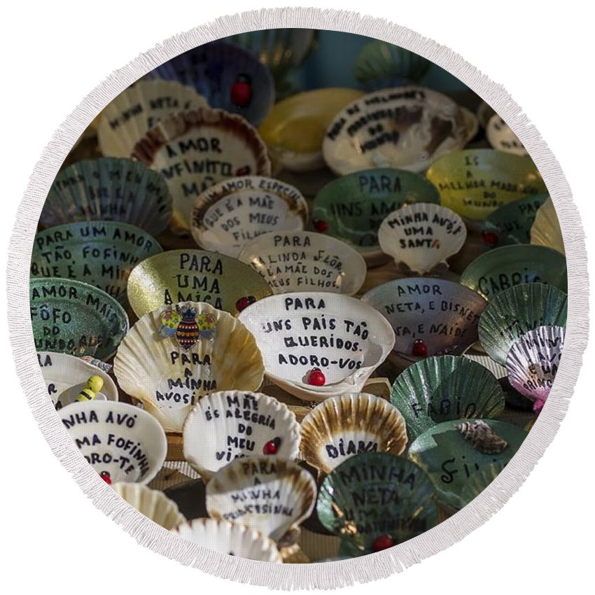 Message Round Beach Towel featuring the photograph Messages On Shells by Paulo Goncalves
