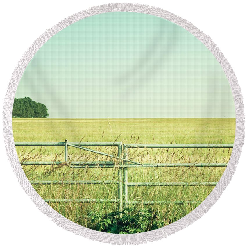 Access Round Beach Towel featuring the photograph Metal Gate by Tom Gowanlock